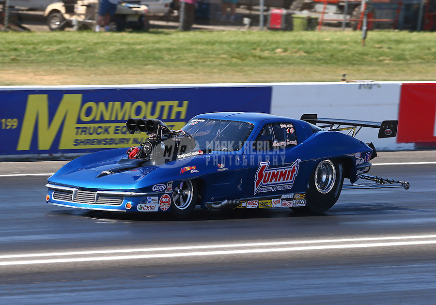 Jun. 1, 2013; Englishtown, NJ, USA: NHRA pro mod driver Kenny Lang during qualifying for the Summer Nationals at Raceway Park. Mandatory Credit: Mark J. Rebilas-