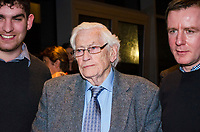 Seamus Mallon, retired leader, SDLP, political party, N Ireland, UK, at Belfast launch of Maurice Fitzpatrick&rsquo;s book, John Hume in America: From Derry to DC, at the Titanic Building, 25th January 2018, 201801254785<br /><br />Copyright Image from Victor Patterson, 54 Dorchester Park, <br />Belfast, UK, BT9 6RJ<br /><br />t1: +44 28 9066 1296 (from Rep of Ireland 048 9066 1296)<br />t2: +44 28 9002 2446 (from Rep of Ireland 048 9002 2446)<br />m: +44 7802 353836<br /><br />victorpatterson@me.com<br />www.victorpatterson.com<br /><br />Please see my Terms and Conditions of Use at VICTORPATTERSON.COM. It is IMPORTANT that you familiarise yourself with them.<br /><br />Images used on the Internet must be visibly watermarked i.e. &copy;VICTORPATTERSON.COM within the body of the image and copyright metadata must not be deleted. Images used on the Internet have a size restriction of 4kbs and are chargeable at the then current NUJ rates.<br /><br />This image is only available for the use of the download recipient i.e. television station, newspaper, magazine, book publisher, etc, and must not be passed on to any third party. It is also downloaded on condition that each and every usage is notified within 7 days to victorpatterson@me.com<br /><br />The right of Victor Patterson to be identified as the author is asserted in accordance with The Copyright Designs And Patents Act (1988).