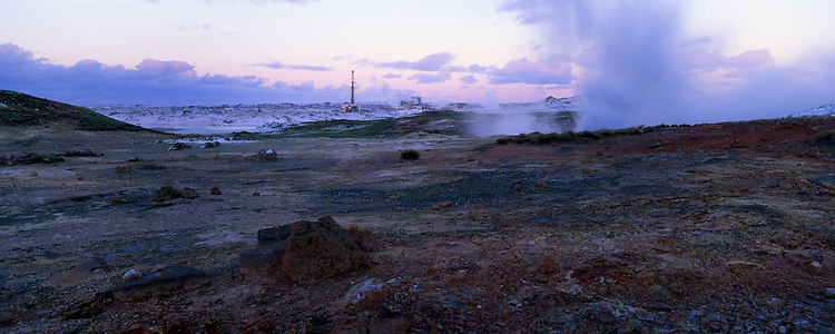 Geothermal area near Reykjavik and the Blue Lagoon Iceland. Panorama images taken with Hasselblad Xpan camera and Fuji Velvia film.