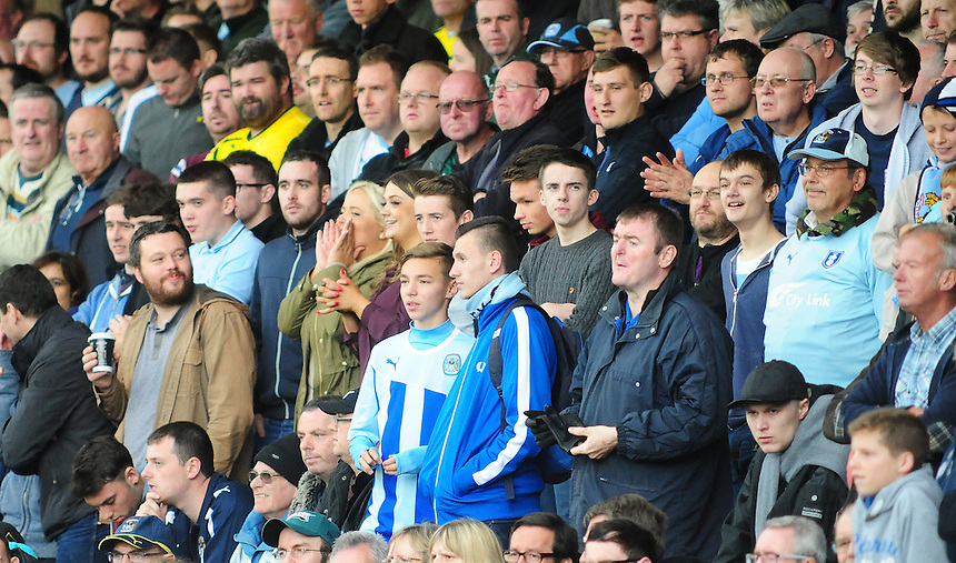 Coventry City fans during the second half<br /> <br /> Photographer Chris Vaughan/CameraSport<br /> <br /> Football - The Football League Sky Bet League One - Crewe Alexandra v Coventry City - Saturday 11th October 2014 - Alexandra Stadium - Crewe<br /> <br /> &copy; CameraSport - 43 Linden Ave. Countesthorpe. Leicester. England. LE8 5PG - Tel: +44 (0) 116 277 4147 - admin@camerasport.com - www.camerasport.com