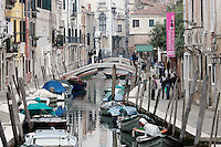 Barche ormeggiate lungo il Rio San Barnaba a Venezia.<br /> View of moored boats in Rio San Barnaba, Venice.<br /> UPDATE IMAGES PRESS/Riccardo De Luca