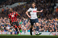 Jan Vertonghen of Tottenham Hotspur passes back to goal during the Premier League match between Tottenham Hotspur and Bournemouth at White Hart Lane, London, England on 15 April 2017. Photo by Mark  Hawkins / PRiME Media Images.