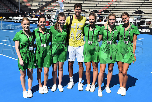 12.01.2017. ASB Tennis Centre, Auckland, New Zealand. ASB Classic Tennis, Day 13. Robin Haase and Heineken promotion team during the ASB Classic.