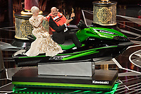 Helen Mirren with Oscar&reg; winner Mark Bridges on a jet ski on stage during the live ABC Telecast of The 90th Oscars&reg; at the Dolby&reg; Theatre in Hollywood, CA on Sunday, March 4, 2018.<br /> *Editorial Use Only*<br /> CAP/PLF/AMPAS<br /> Supplied by Capital Pictures