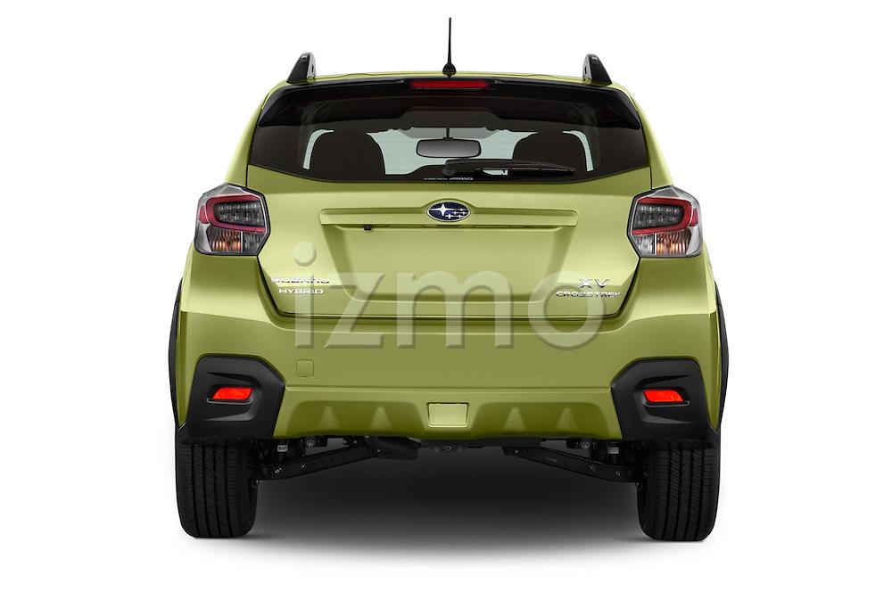 Straight rear view of a 2015 Subaru XV Crosstrek Hybrid 5 Door SUV Rear View  stock images
