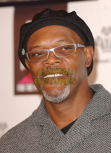 SAMUEL L. JACKSON.Announces details for the Swarovski Fashion Rocks, annual fashion benefit on the October 18th 2007. Hotel Intercontinental, Hyde Park Corner, London. .September 13th, 2007.headshot portrait glasses goatee facial hair black hat .CAP/BEL.©Tom Belcher/Capital Pictures.