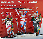 November 29, 2013 - Beaver Creek, Colorado, U.S. - Tina Weirather (l), Lara Gut (center), and Elena Fanchini, celebrate on the podium following the medal presentations in the ladies downhill competition on Vail/Beaver Creek's new women's Raptor race course, Beaver Creek, Colorado.