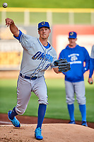 Omaha Storm Chasers starting pitcher Luke Farrell (19) throws in the bullpen before the game against the Salt Lake Bees in Pacific Coast League action at Smith's Ballpark on May 8, 2017 in Salt Lake City, Utah. Salt Lake defeated Omaha 5-3. (Stephen Smith/Four Seam Images)