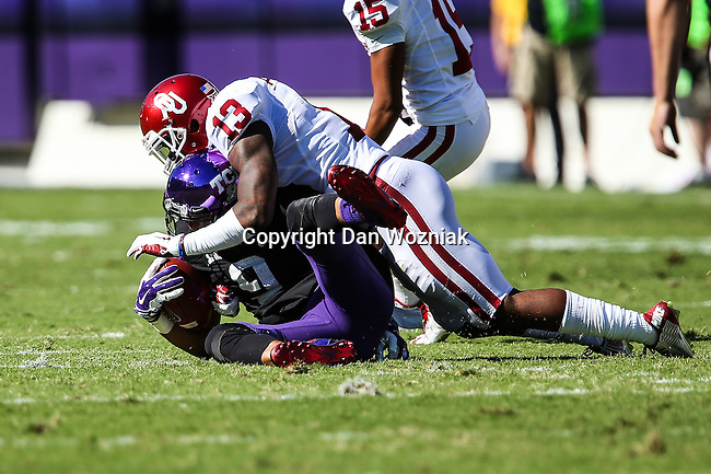 TCU Horned Frogs offensive tackle Aviante Collins (69) in action during the game between the Oklahoma Sooners and the TCU Horned Frogs at the Amon G. Carter Stadium in Fort Worth, Texas.