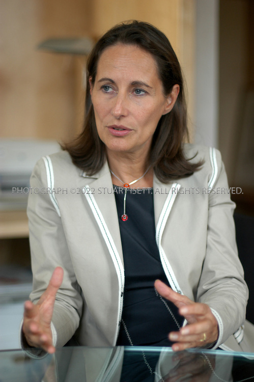 9/26/2005--PARIS, FRANCE..Segolene Royal, 52, president of the Poitou-Charentes Region of France and presidential hopeful for the French elections in 2007 speaking to a reporter in her office. Royal is one of the top socialist politicians in France..Photograph By Stuart Isett.All photographs ©2005 Stuart Isett.All rights reserved.
