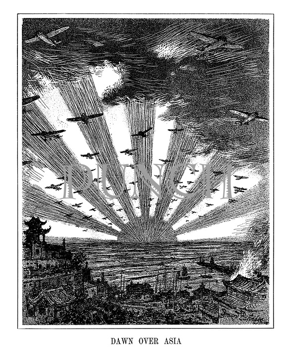 Dawn Over Asia. (The Japanese sun rises as warplanes start bombing a Chinese harbour during The Battle of Shanghai, and begins its invasion of Asia)