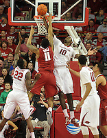 NWA Democrat-Gazette/Michael Woods --01/06/2015--w@NWAMICHAELW... University of Arkansas forward Bobby Portis goes up to block the shot of Alabama forward Shannon Hale during overtime of the Razorbacks 93-91 overtime victory over Alabama during Thursday nights game at Bud Walton Arena in Fayetteville.