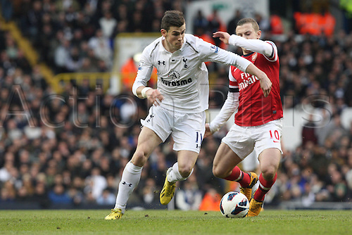 03.03.2013. London, England. Gareth Bale of Tottenham Hotspur and Jack Wilshere of Arsenal during Premier League game between Tottenham Hotspur and Arsenal from White Hart Lane