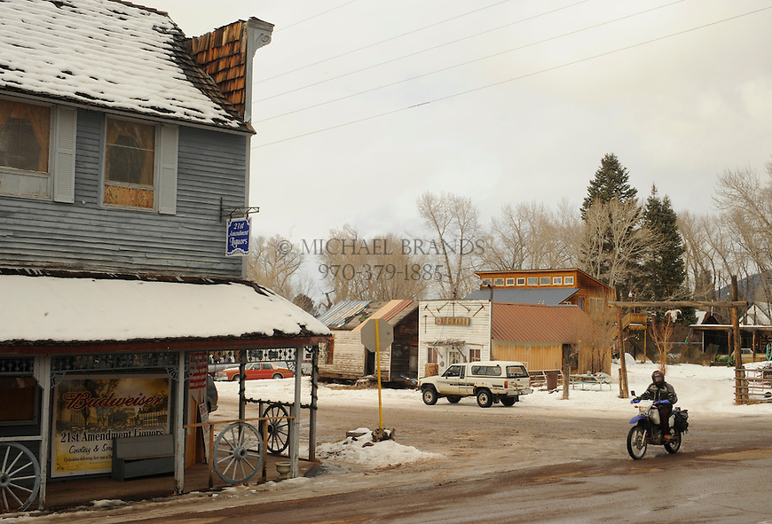 Downtown Crestone, CO, consists of little more than a few shops and ramshackle buildings. Michael Brands for The New York Times.