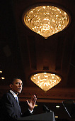 United States President Barack Obama delivers remarks at a Democratic National Committee (DNC) fundraising reception at the Capitol Hilton Hotel in Washington, D.C. on Thursday, February 4, 2010..Credit: Martin H. Simon - Pool via CNP