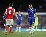 Chelsea's Diego Costa argues with Arsenal's Laurent Koscielny during the Premier League match at the Emirates Stadium, London. Picture date September 24th, 2016 Pic David Klein/Sportimage