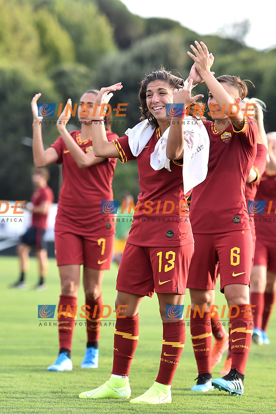 Elisa Bartoli of AS Roma  and team mates wave the fans at the end of the match <br /> Roma 8/9/2019 Stadio Tre Fontane <br /> Luisa Petrucci Trophy 2019<br /> AS Roma - Paris Saint Germain<br /> Photo Andrea Staccioli / Insidefoto