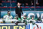 Stockholm 2014-03-27 Ishockey Kvalserien Djurg&aring;rdens IF - R&ouml;gle BK :  <br /> R&ouml;gles m&aring;lvaktstr&auml;nare Magnus Wennstr&ouml;m ser nedst&auml;md ut bakom R&ouml;gles Emil Molin , R&ouml;gles Alen Bibic , R&ouml;gles Kelsey Tessier och R&ouml;gles Erik Thorell <br /> (Foto: Kenta J&ouml;nsson) Nyckelord:  DIF Djurg&aring;rden R&ouml;gle RBK Hovet depp besviken besvikelse sorg ledsen deppig nedst&auml;md uppgiven sad disappointment disappointed dejected