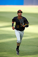 Bradenton Marauders left fielder Alfredo Reyes (13) jogs back to the dugout during the first game of a doubleheader against the Tampa Yankees on April 13, 2017 at George M. Steinbrenner Field in Tampa, Florida.  Bradenton defeated Tampa 4-1.  (Mike Janes/Four Seam Images)