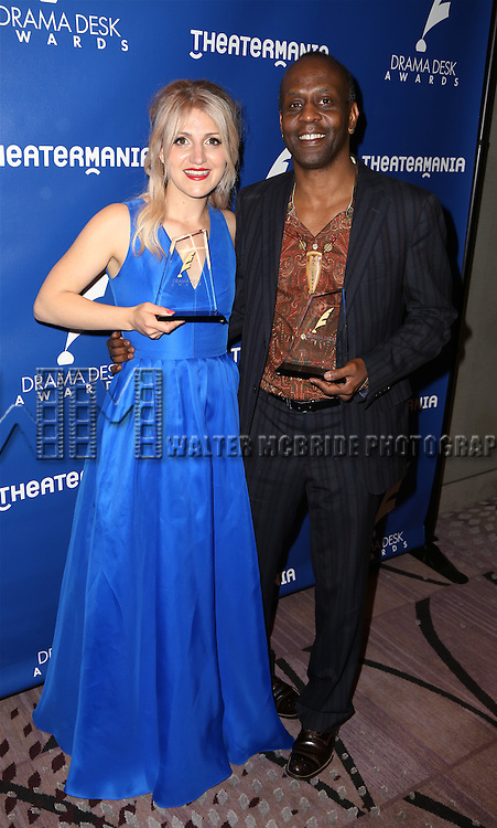 Annaleigh Ashford and K. Todd Freeman visits the 2015 Drama Desk Awards Media Room at Marriott Marquis Times Square on May 31, 2015 in New York City.
