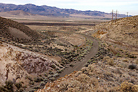 The abandoned roadbed of Highway US 40 descends towards Golcanda, Nevada, from the Golcanda Summit.