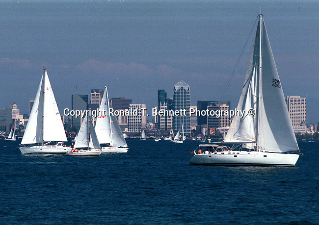 Downtown San Diego with sail boats in the bay California, San Diego bay is a natural harbor adjacent to San Diego, Navy's Pacific Fleet, California Fine Art Photography by Ron Bennett, Fine Art Photography by Ron Bennett, Fine Art, Fine Art photography, Art Photography, Copyright RonBennettPhotography.com ©
