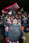 © Joel Goodman - 07973 332324 . 18/05/2016 . Accrington , UK . Accrington Stanley fans cheer after their team goes a goal up from a penalty . Accrington Stanley take on AFC Wimbledon at the Wham Stadium , in the 2nd leg of their League Two tie , the result from which will decide which team goes on to the final at Wimbledon . Photo credit : Joel Goodman
