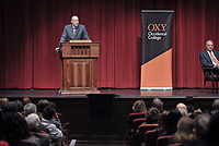 Jonathan Veitch, Occidental College President<br /> Senator Jeff Flake speaks in Thorne Hall as part of a moderated discussion with Oxy Trustee Grant Woods '76 on Wednesday, February 5, 2020. Sen. Flake spoke at Oxy and met with students, faculty and guests as part of Oxy's Jack Kemp '57 Distinguished Lecture Series.<br /> <br /> (Photo by John Valenzuela, Freelance Photographer)