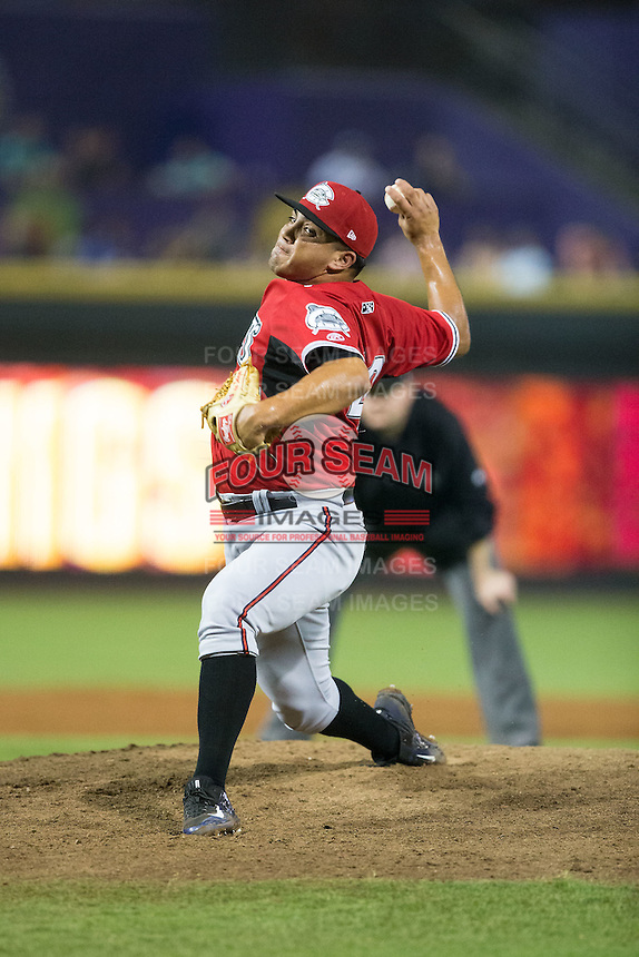 Carolina Mudcats relief pitcher Carlos Salazar (49) in action against the Winston-Salem Dash at BB&T Ballpark on July 23, 2015 in Winston-Salem, North Carolina.  The Dash defeated the Mudcats 3-2.  (Brian Westerholt/Four Seam Images)