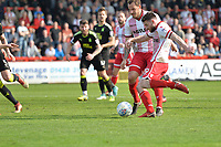 Danny Newton of Stevenage shoots wide during Stevenage vs Cambridge United, Sky Bet EFL League 2 Football at the Lamex Stadium on 14th April 2018