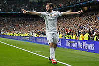 Real Madrid's Spanish defense Nacho celebrating after scoring