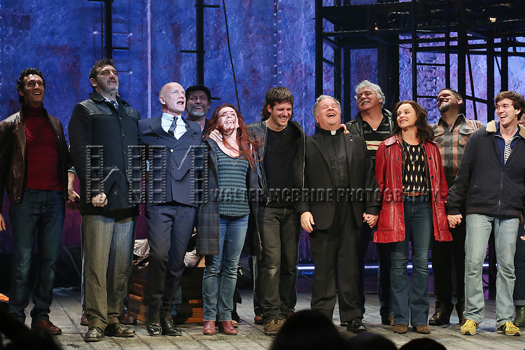 Aaron Lazar, Jimmy Nail, Sting, Rachel Tucker, Michael Esper, Fred Applegate, Sally Ann Triplett and Collin Kelly- Sordelet with cast during the Broadway Opening Night Performance Curtain Call for 'The Last Ship' at the Neil Simon Theatre on October 26, 2014 in New York City.
