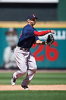 Pawtucket Red Sox shortstop Deven Marrero (25) throws to first during a game against the Rochester Red Wings on June 29, 2016 at Frontier Field in Rochester, New York.  Pawtucket defeated Rochester 3-2.  (Mike Janes/Four Seam Images)