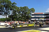 Jun. 3, 2012; Englishtown, NJ, USA: NHRA top fuel dragster driver Morgan Lucas during the Supernationals at Raceway Park. Mandatory Credit: Mark J. Rebilas-