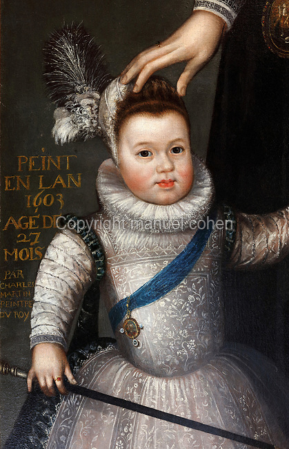 Dauphin Louis, detail of Portrait of Marie de Medici, 1575-1642, and the dauphin Louis, oil painting on canvas, 1603, by Charles Martin, 1562-1646, in the Garde-robe de la Reine, or Queen's Dressing Room, in the Francois I wing, built early 16th century in Italian Renaissance style and restored by Felix Duban 1861-66, at the Chateau Royal de Blois, built 13th - 17th century in Blois in the Loire Valley, Loir-et-Cher, Centre, France. The chateau has 564 rooms and 75 staircases and is listed as a historic monument and UNESCO World Heritage Site. Picture by Manuel Cohen