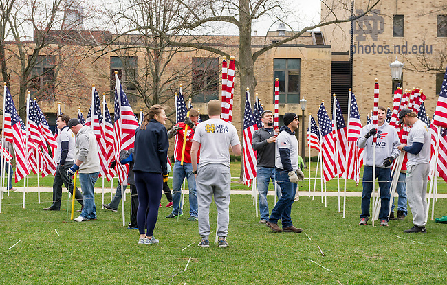 March 18, 2016; MBA Vet's Flag Installation in front of the Hesburgh Library. - Flags of Honor. (Photo by Barbara Johnston/University of Notre Dame)