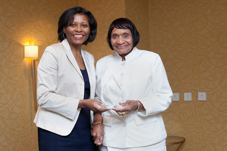 April Hawkins gives Mary Francis Gilliard Oliver her award at the Older Volunteers Enrich America Awards at the Double Tree Hotel in Washington, DC on Friday, June 17, 2011.