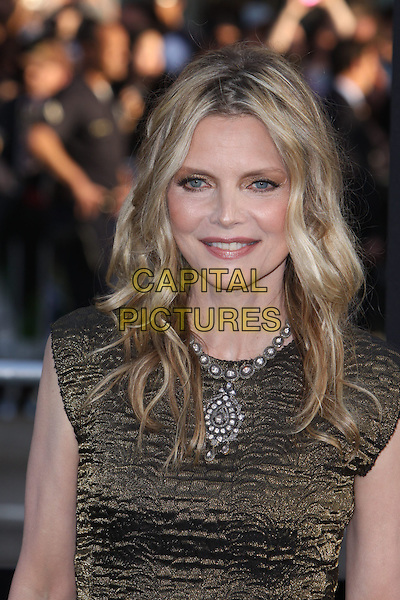 Michelle Pfeiffer.'Dark Shadows' Los Angeles premiere held at Grauman's Chinese Theatre, Hollywood, California, USA..7th May 2012.headshot portrait gold black silver necklace .CAP/ADM/CH.©Charles Harris/AdMedia/Capital Pictures