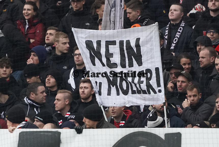 Eintracht Ultras sagen immer noch Nein zu Andy Möller - 23.11.2019: Eintracht Frankfurt vs. VfL Wolfsburg, Commerzbank Arena, 12. Spieltag<br /> DISCLAIMER: DFL regulations prohibit any use of photographs as image sequences and/or quasi-video.