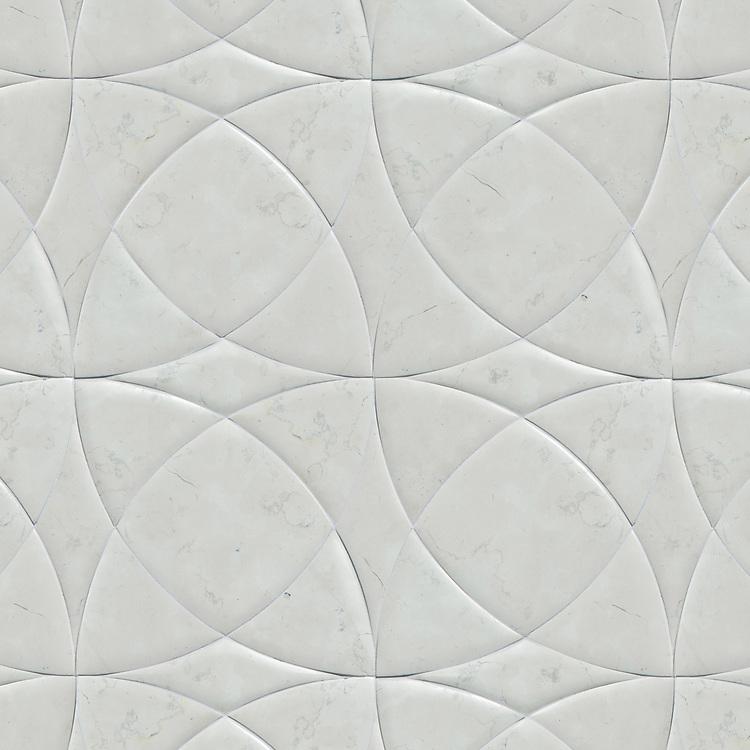 Zazen Grande, a waterjet stone mosaic, shown in Venetian honed Bianco Antico, is part of the Miraflores Collection by Paul Schatz.