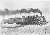 Engine #475 with RPO #82 and coach #284 south of Espanola.<br /> D&amp;RGW  s. of Espanola, NM  Taken by Jackson, Richard B. - 7/1940