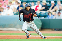 California League All-Star Billy Hamilton #4 of the Bakersfield Blaze takes off for second base against the Carolina League All-Stars during the 2012 California-Carolina League All-Star Game at BB&T Ballpark on June 19, 2012 in Winston-Salem, North Carolina.  The Carolina League defeated the California League 9-1.  (Brian Westerholt/Four Seam Images)