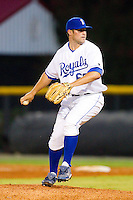 Relief pitcher Jake Ramsey #60 of the Burlington Royals in action against the Bristol White Sox at Burlington Athletic Stadium August 13, 2010, in Burlington, North Carolina.  Photo by Brian Westerholt / Four Seam Images