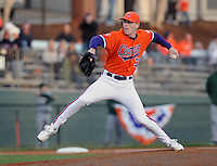 LHP Casey Harman (36) pitches in relief in a game between the Charlotte 49ers and Clemson Tigers Feb. 20, 2009, at Doug Kingsmore Stadium in Clemson, S.C. (Photo by: Tom Priddy/Four Seam Images)