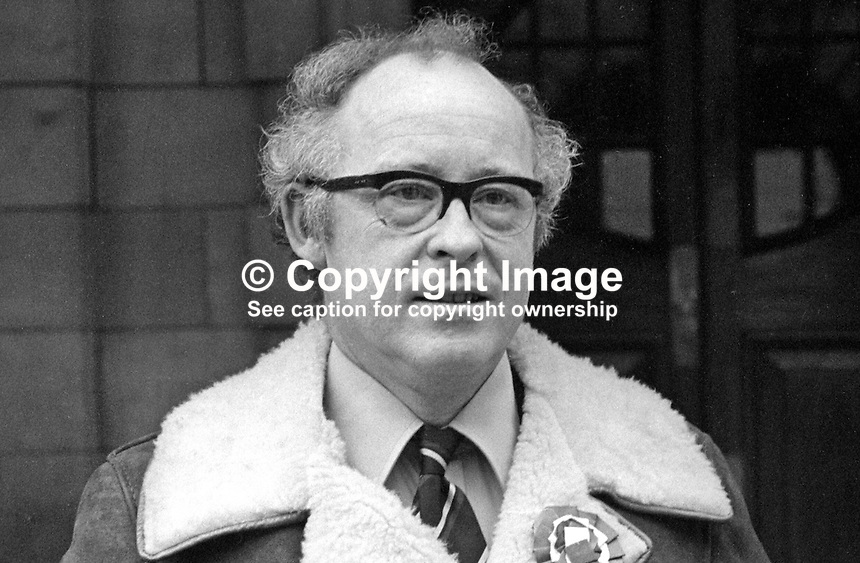 Rafton Pounder, pro-Assembly Ulster Unionist candidate, South Belfast, February 1974 UK General Election, 197402000140d<br /> <br /> Copyright Image from Victor Patterson,<br /> 54 Dorchester Park, Belfast, UK, BT9 6RJ<br /> <br /> t1: +44 28 90661296<br /> t2: +44 28 90022446<br /> m: +44 7802 353836<br /> <br /> e1: victorpatterson@me.com<br /> e2: victorpatterson@gmail.com<br /> <br /> For my Terms and Conditions of Use go to<br /> www.victorpatterson.com