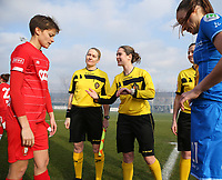 20200121- Oostakker, BELGIUM : referee Irmgard van Meirvenne (middle) talks to the captain of Standard's Maurane Marinucci (left)(in red) during the coin toss at the start of the semi final of Belgian Cup 2020 , women's soccer game between KAA Gent Ladies and R Standard de Liège Femina, on Sunday 26th January 2020, at at the PGB stadion in Oostakker, Ghent, BELGIUM . PHOTO: SPORTPIX.BE | SEVIL OKTEM