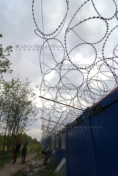Subotica / Serbia  160416<br /> Wall and barbed wire that separates Serbia from Hungary.<br /> Photo Livio Senigalliesi