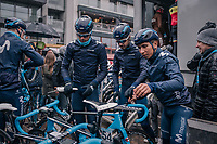 Nairo Quintana (COL/Movistar) trying to get to his bike after sign-on<br /> <br /> 73rd Dwars Door Vlaanderen 2018 (1.UWT)<br /> Roeselare - Waregem (BEL): 180km