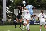 18 September 2009: LSU goalkeeper Mo Isom (0) catches the ball under pressure from North Carolina's Jessica McDonald (47). The University of North Carolina Tar Heels defeated the Louisiana State University Tigers 1-0 at Koskinen Stadium in Durham, North Carolina in an NCAA Division I Women's college soccer game.