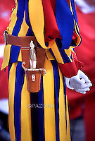 Pontifical Swiss Guard;Pope Francis   during  the holy mass of Pentecost Sunday in Saint Peter's Basilica at the Vatican on 24 May 2015
